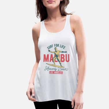 SURF FOR LIVE - MALIBU BEACH SURFING - Women's Flowy Tank Top