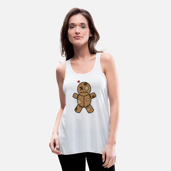 Voodoo Doll Tank Tops - Voodoo Doll - Women's Flowy Tank Top white