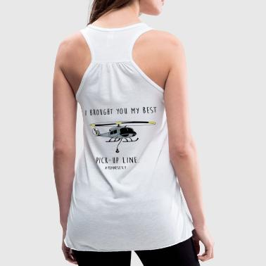 I brought you my Best Pick-up Line (Black & White) - Women's Flowy Tank Top by Bella