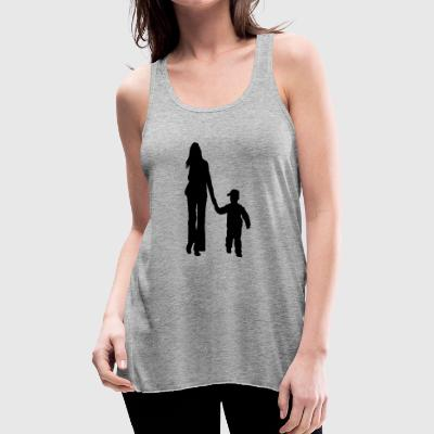 mother and son silhouettes - Women's Flowy Tank Top by Bella