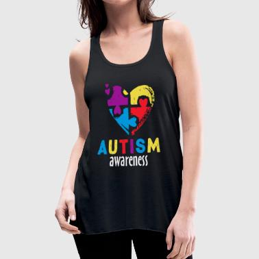 Autism Awareness Month Ribbon Heart - Women's Flowy Tank Top by Bella