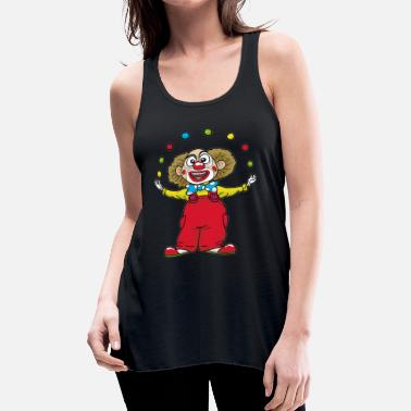 Red Nose Juggling CLOWN happy circus red nose juggler - Women's Flowy Tank Top