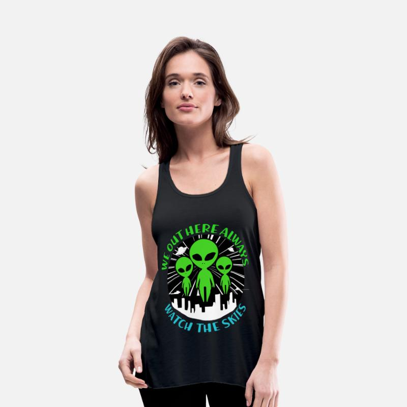 Space Tank Tops - Aliens Gift Ufo Space Saucer Mars Geek Scifi Solar - Women's Flowy Tank Top black
