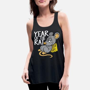 Chinese Year of the Rat with Cheese 2020 Lucky Zodiac Cute - Women's Flowy Tank Top