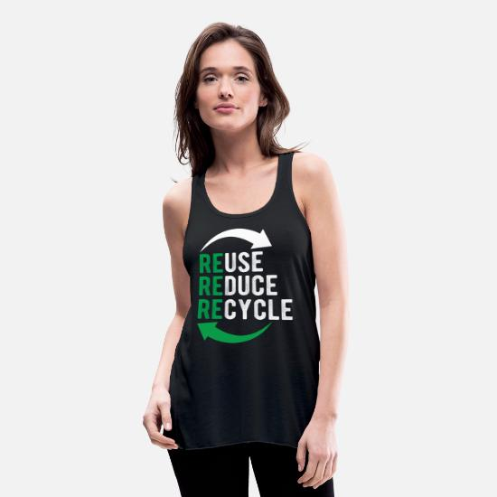 Recycle Tank Tops - Recycle Reuse Ecology Green Logo Recycling Tshirt - Women's Flowy Tank Top black