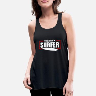surfer sunset surfing surfboard present - Women's Flowy Tank Top