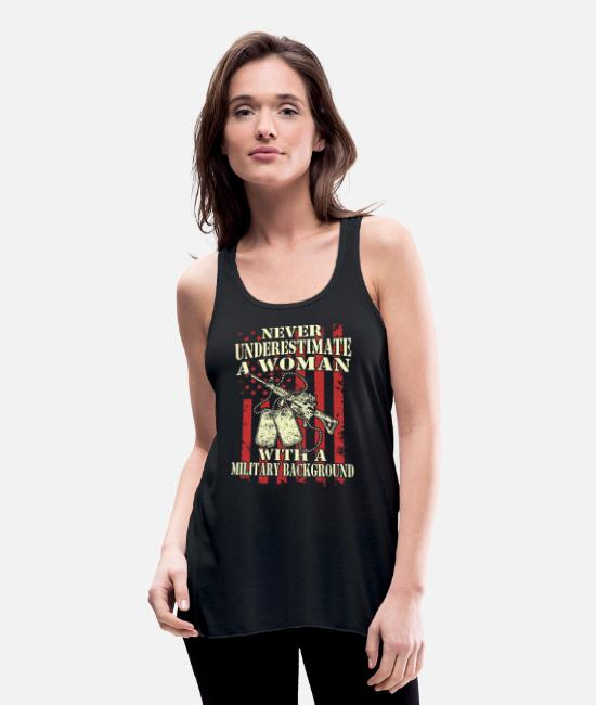 Badass Military Tank Tops - A woman with a military background - Women's Flowy Tank Top black
