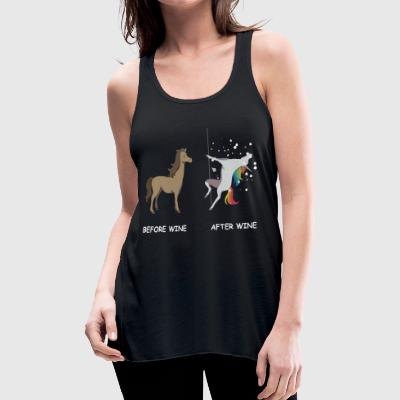 Unicorn before wine and after wine - Women's Flowy Tank Top by Bella
