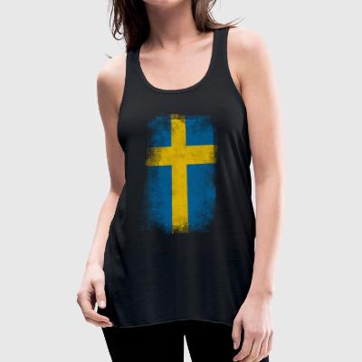Sweden Flag Proud Swedish Vintage Distressed Shirt - Women's Flowy Tank Top by Bella
