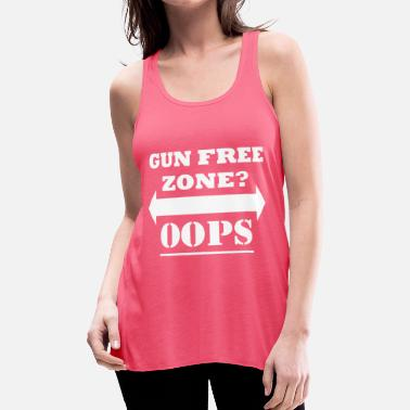 Funny Gym Gun Free Zone? Oops | Funny Gym Workout Lifting - Women's Flowy Tank Top by Bella