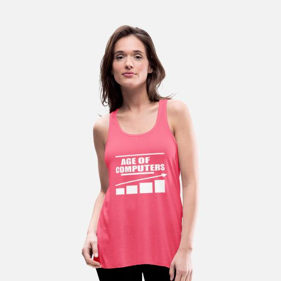 Computers Tank Tops - AGE OF COMPUTERS - Women's Flowy Tank Top neon pink
