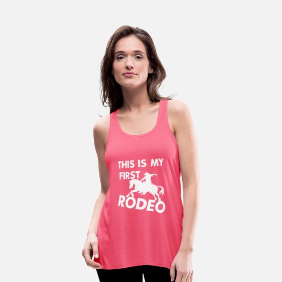 Riding Tank Tops - Rodeo, riding, western, T-shirt - Women's Flowy Tank Top neon pink