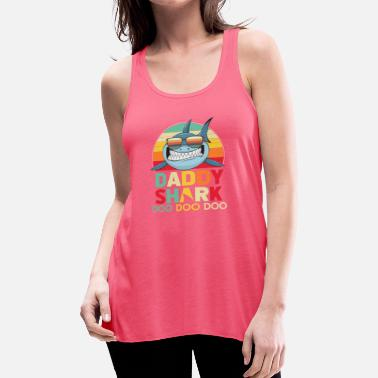 Daddy Retro Vintage Daddy Sharks Tshirt gift for Father - Women's Flowy Tank Top