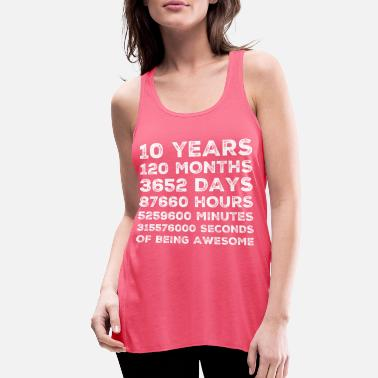 10 Years Old 10th Birthday Vintage Retro 120 Month - Women's Flowy Tank Top