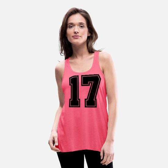 Jersey Number Tank Tops - Number, 17, Jersey, Sports, Varsity - Women's Flowy Tank Top neon pink