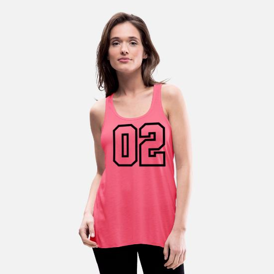 Birthday Tank Tops - 02, Number, Sports, Jersey, Team, Varsity - Women's Flowy Tank Top neon pink
