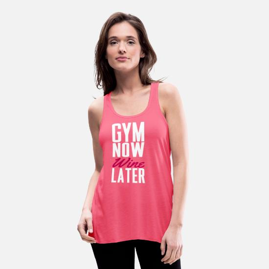 Funny Tank Tops - Gym now wine later - Women's Flowy Tank Top neon pink