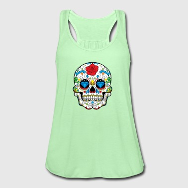 sugar_skull_with_rose - Women's Flowy Tank Top by Bella