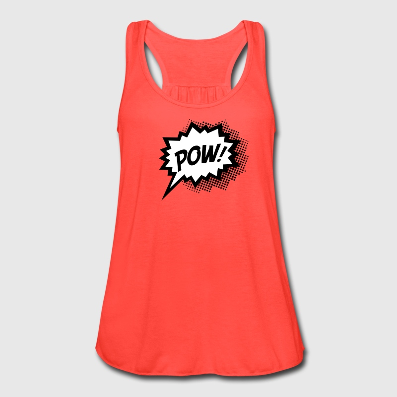 Comic POW, Super Hero, Cartoon, Fun, Speech Bubble - Women's Flowy Tank Top by Bella