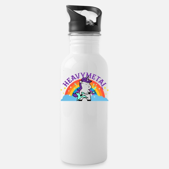 Guitar Player Mugs & Drinkware - HEAVY METAL RAINBOW BAND FUNNY UNICORN - Water Bottle white