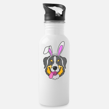 Cartoon Bernese Mountain Dog Happy Easter Bunny Gift - Water Bottle