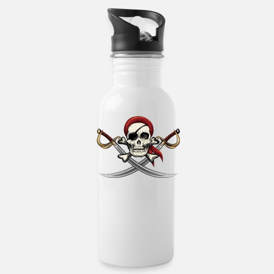 Pirate Mugs & Drinkware - Pirate Skull - Water Bottle white