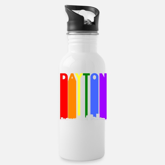 Gay Pride Mugs & Drinkware - Dayton Ohio Skyline Rainbow LGBT Gay Pride - Water Bottle white