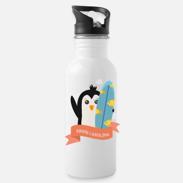 Vacation Penguin Surfer from South Carolina Gift - Water Bottle