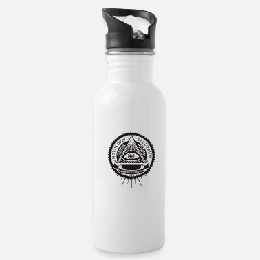 Orders Of Chivalry illuminati sign original pyramide eye new world fu - Water Bottle