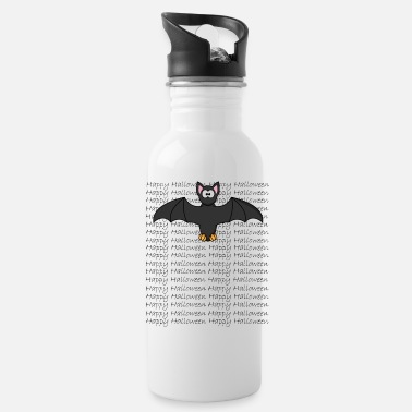 Writing Funny halloween bat with happy halloween writing - Water Bottle