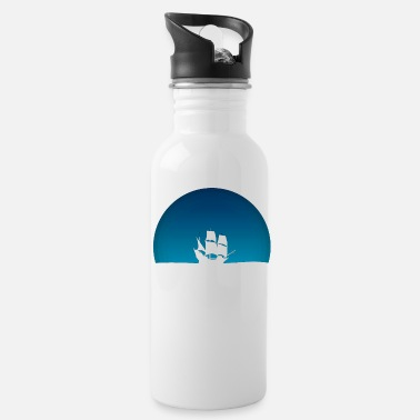 Blue Sky Ship with blue sky - Water Bottle
