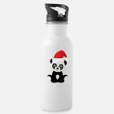 Merry Funny Christmas baby panda Santa Claus Hat - Water Bottle