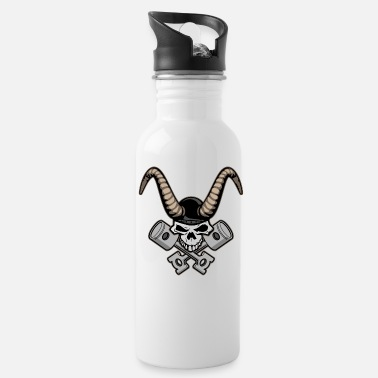 Skull with horns and crossed pistons illustration - Water Bottle