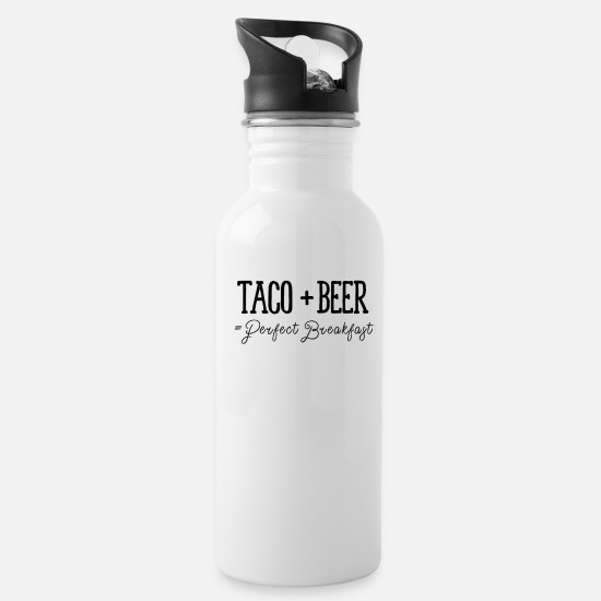 Alcohol Mugs & Drinkware - Taco + Beer = Perfect Breakfast | Hungover print - Water Bottle white