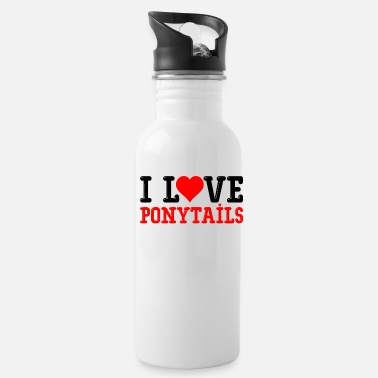 Ponytail I love ponytails heart - Water Bottle