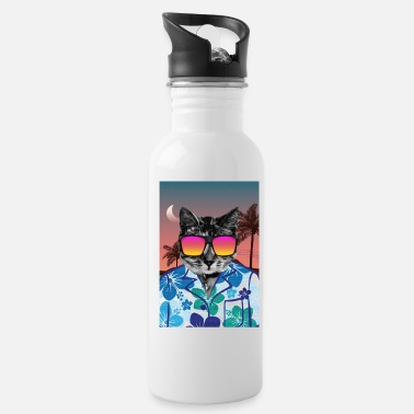 California Funny California Beach Cat Gift Retro 80s Summer - Water Bottle