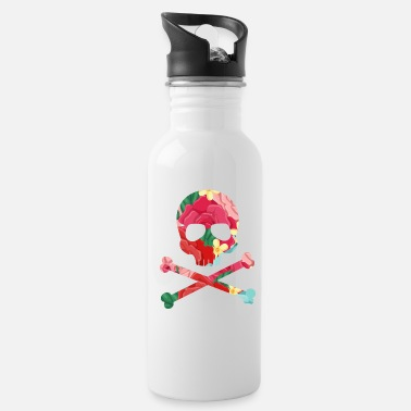 Cool Flowered Pirate Skull And Crossbones Funky Jolly R - Water Bottle