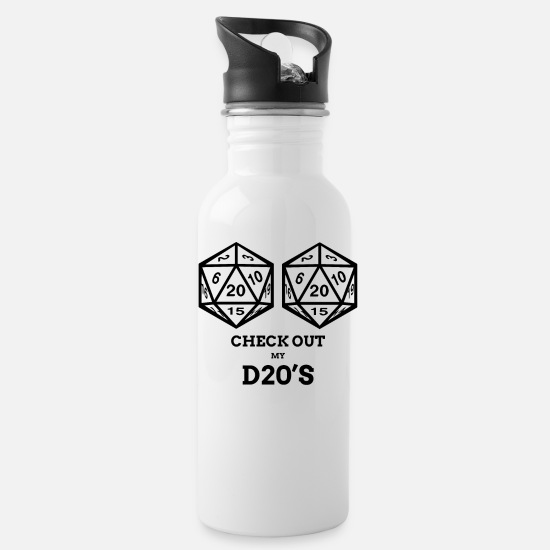 Tits Mugs & Drinkware - Funny RPG D20 Shirt Natural Game Retro T Shirt - Water Bottle white