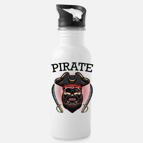 Pirate Mugs & Drinkware - Pirate Skull Eyepatch Sabre Pirate Gift - Water Bottle white