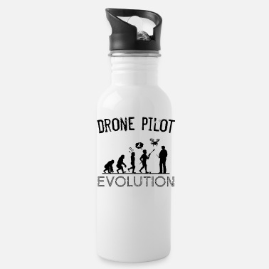 Quadricopter Drone Pilot Evolution Silhouette Drones Gift - Water Bottle