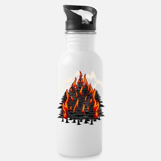 Forest Mugs & Drinkware - Climate Australia Nature Fire Global Co2 Forest - Water Bottle white