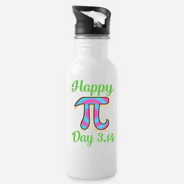 Cake Happy Pi Day 3.14 Symbol Rave Style Math Teacher - Water Bottle