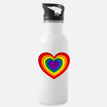 Paper Colorful papercut heart lgbt style - Water Bottle