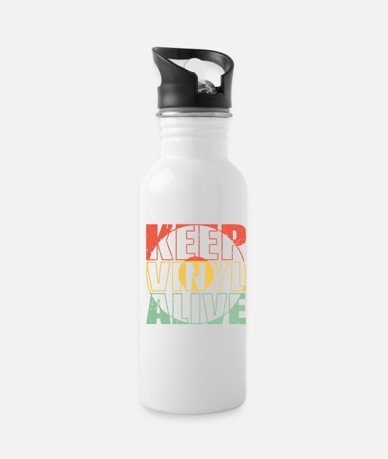 Vinyl Records Mugs & Cups - KEEP VINYL ALIVE record vintage retro gift idea - Water Bottle white