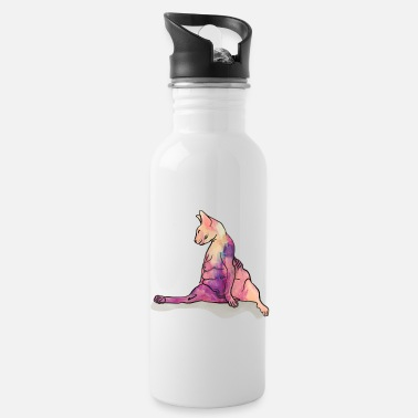 Cat Art Is there a draft in here - Sphynx Cat Art - Hairle - Water Bottle