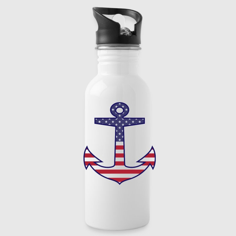 Patriotic American Flag Anchor Nautical - Water Bottle