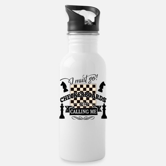 Checkmate Mugs & Drinkware - i must go checkerboards are calling chess tactic - Water Bottle white