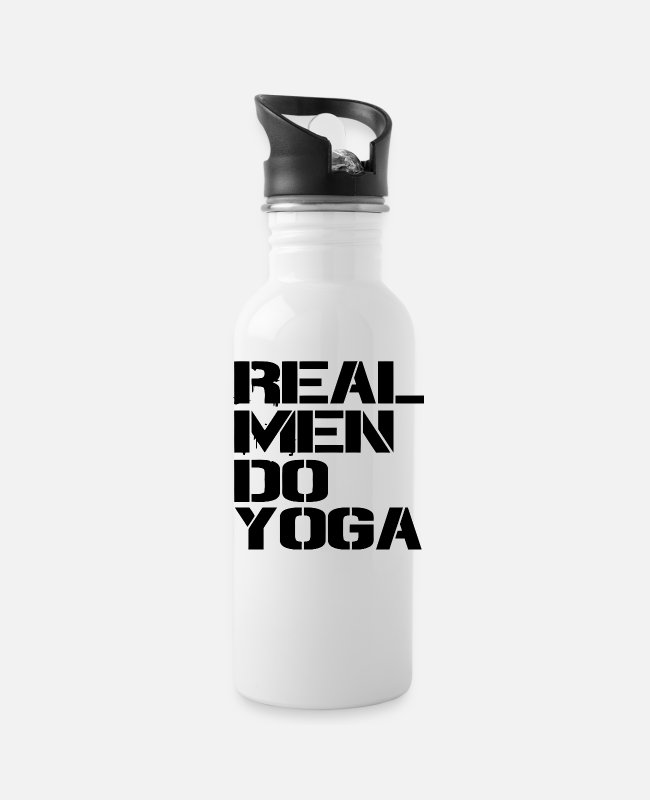 Realistic Mugs & Cups - Real Men Do Yoga - Water Bottle white