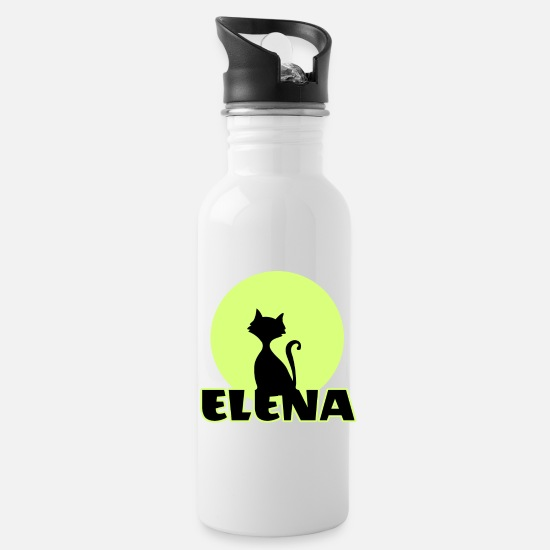 Birthday Mugs & Drinkware - Elena Name day first name personal gift moonlight - Water Bottle white