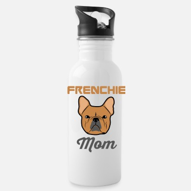 Bull Funny Peony - French Bull Dog Frenchie - Animal - Water Bottle